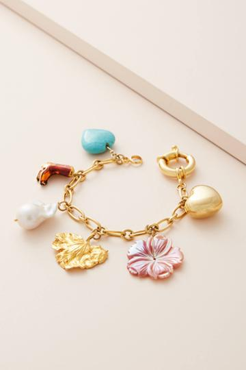 Timeless Pearly Floral Charm Bracelet