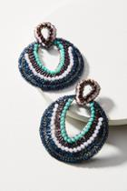 Anthropologie Beaded Open Circle Drop Earrings