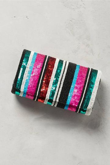Anthropologie Striped Sequins Clutch