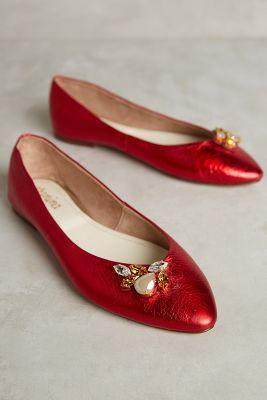 Vanina Shimmery Flats Red
