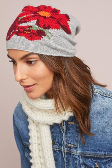 Kitted In Cashmere X Anthropologie Cashmere Winter Blooms Beanie