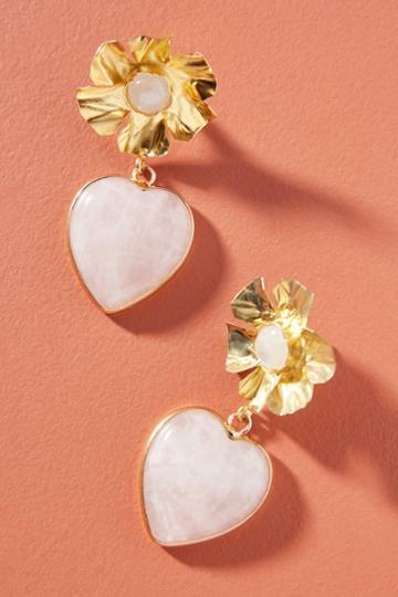 Nicola Bathie Jewelry Flower Heart Drop Earrings