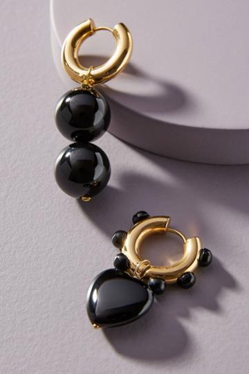 Timeless Pearly Black Heart Hugger Hoop Earrings