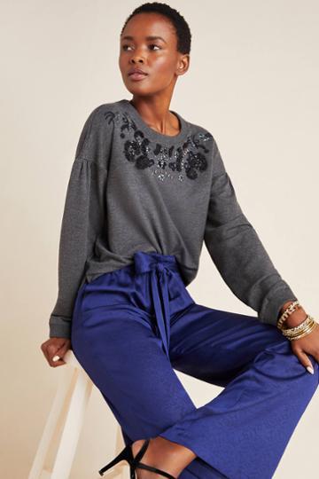 Maeve Tallie Beaded Sweatshirt