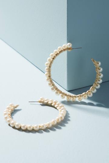 Anthropologie Pearled Raffia Hoop Earrings