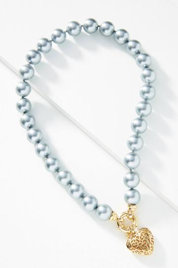 Timeless Pearly Silver Heart Choker Necklace