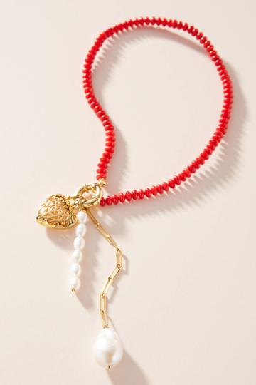 Timeless Pearly Cherry Drop Necklace