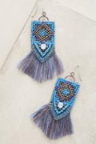 Anthropologie Cobalt Fringe Earrings