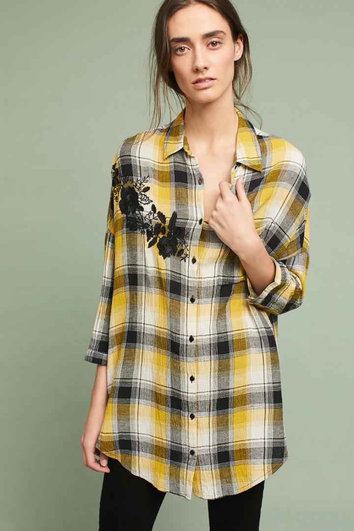 Maeve Embroidered Plaid Buttondown