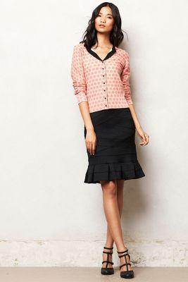 Anthropologie Flounced Ponte Pencil Skirt