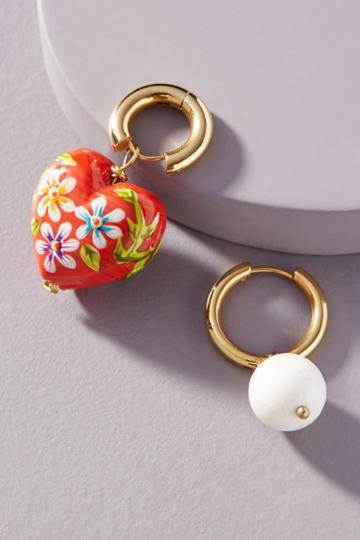 Timeless Pearly Timelesss Pearly Heart Hugger Hoop Earrings