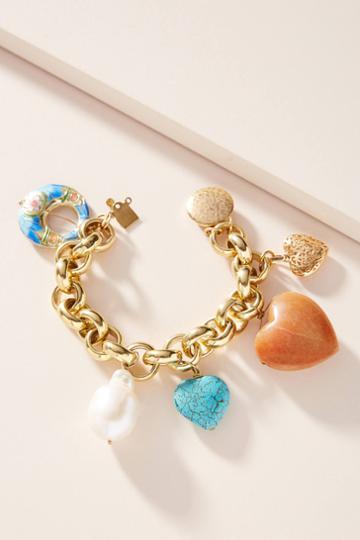 Timeless Pearly Chunky Charm Bracelet