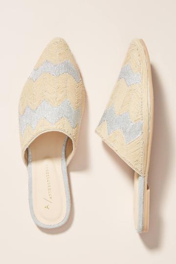 Anthropologie Loretta Embroidered Slides