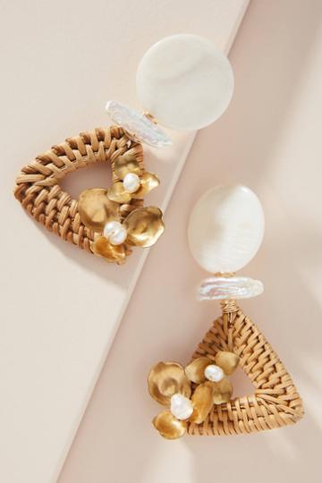 Nicola Bathie Jewelry Pearl Wicker Drop Earrings
