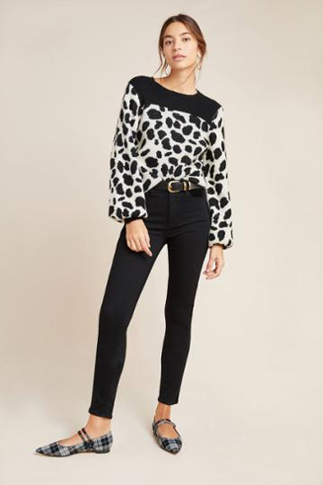Paige Hoxton Velvet-paneled High-rise Skinny Jeans