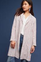 Mo:vint Striped Long Linen Blazer
