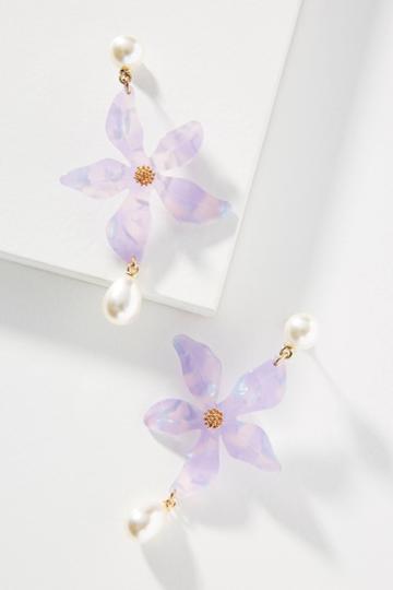 Nicola Bathie Jewelry Lilac Bloom Pearl Drop Earrings