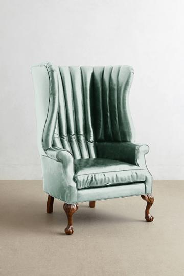 Anthropologie Premium Leather English Fireside Chair
