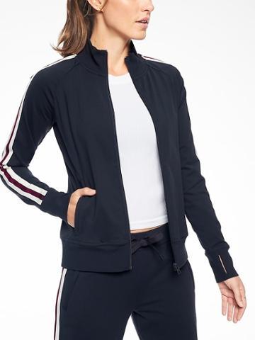 Athleta Womens Circa Track Jacket Navy Captain Size Xxs