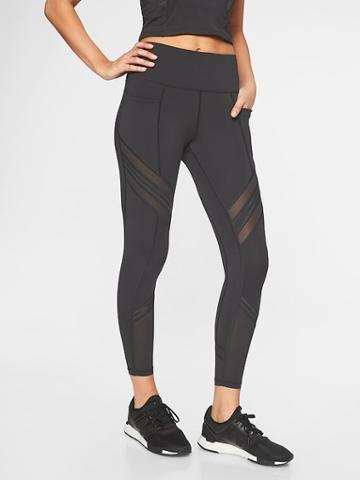 Athleta Womens Up For Anything Mesh 7/8 Tight Black Size L