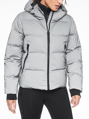 Athleta Womens Snow Down Reflective Jacket Reflective Size S
