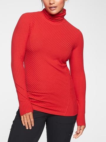 Athleta Womens Essence Ribbed Turtleneck Radiant Red Size Xxs