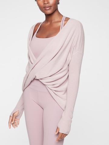 Athleta Womens Finale Wool Cashmere Convertible Sweater Sugarplum Mauve Size Xs