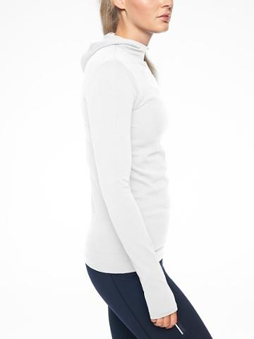 Athleta Womens Flurry Scuba Hoodie Long Sleeve Bright White Size S