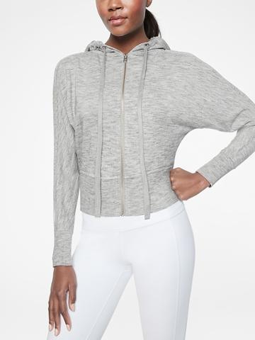 Athleta Womens Rhythmic Hoodie Marl Grey Heather Size Xs