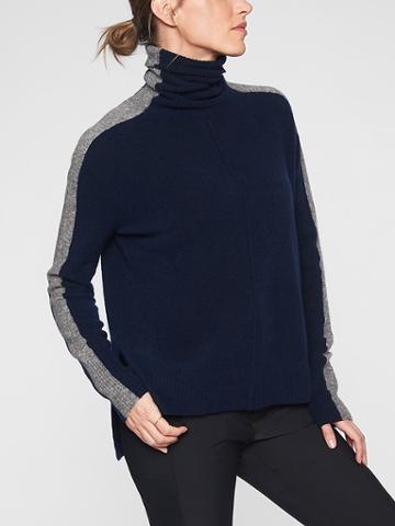 Athleta Womens Transit Colorblock Pullover Turtleneck Sweater Navy/ Grey Size S