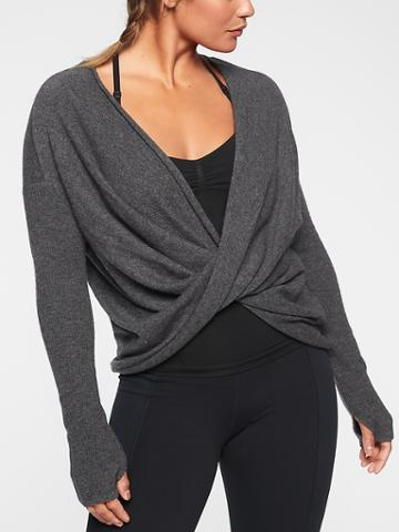 Athleta Womens Finale Wool Cashmere Convertible Sweater Charcoal Grey Heather Size S