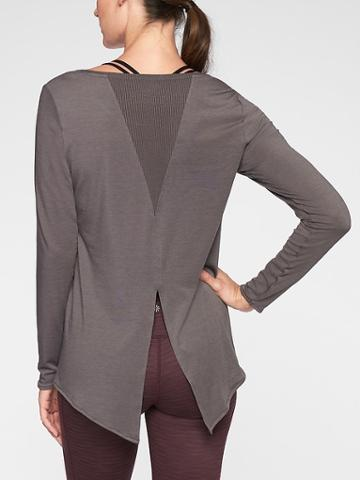 Athleta Womens Essence Semi Fit Long Sleeve Flagstone Grey Size Xxs