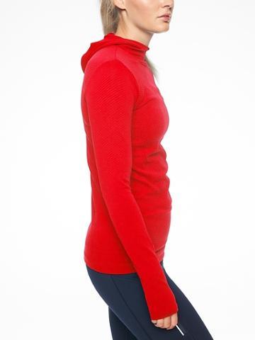 Athleta Womens Flurry Scuba Hoodie Long Sleeve Radiant Red Size Xs