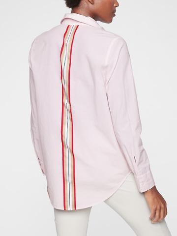 Athleta Womens Marinwood Stripe Shirt Milkshake Pink Size Xxs