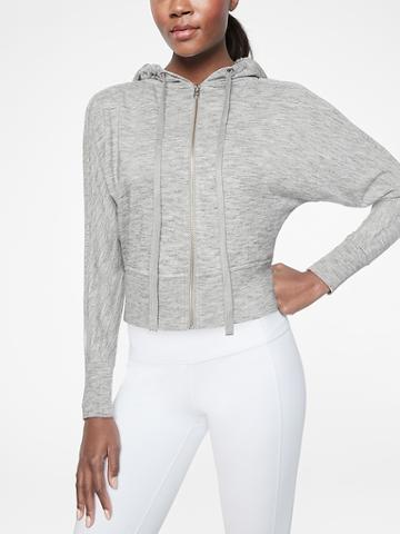 Athleta Womens Rhythmic Hoodie Marl Grey Heather Size M