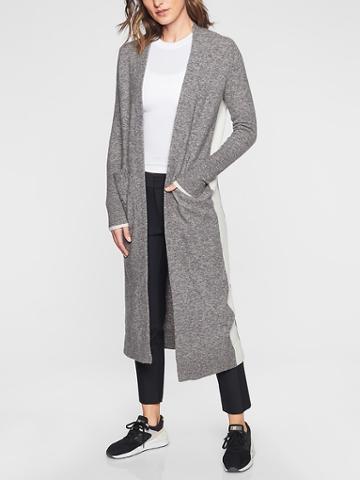 Athleta Womens Transit Sweater Wrap Grey/ White Size S
