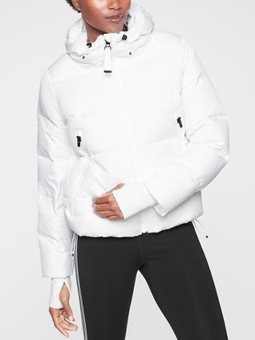 Athleta Womens Snow Down Jacket Bright White Size Xs