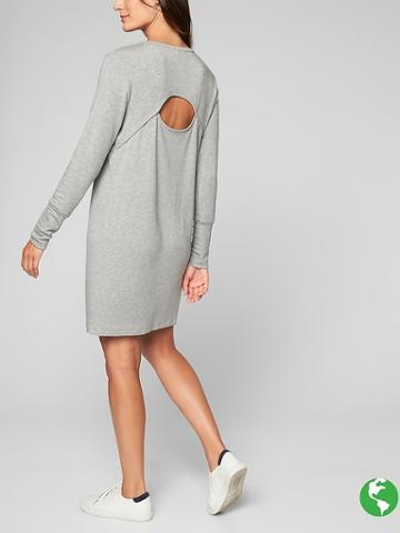 Athleta Womens Crossover Sweatshirt Dress Size M - Light Grey Heather