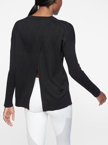 Athleta Womens Highland Crossback Sweater Black Size L