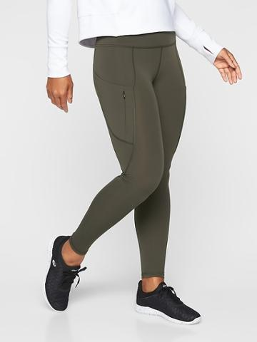 Athleta Womens Up For Anything Tight Arbor Olive Size M