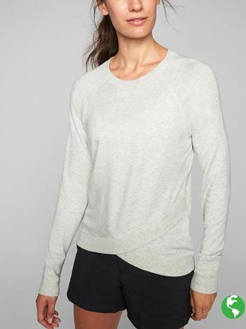 Athleta Womens Criss Cross Sweatshirt Size M - Light Heather Grey