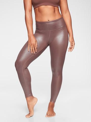 Athleta Womens Elation Shimmer Tight Cinnamon Brown Size 2x