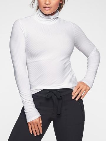 Athleta Womens Essence Ribbed Turtleneck Bright White Size S
