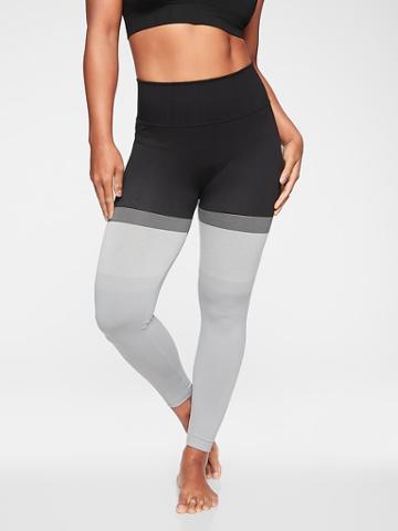 Athleta Womens Stripe Seamless 7/8 Tight Black Size Xl