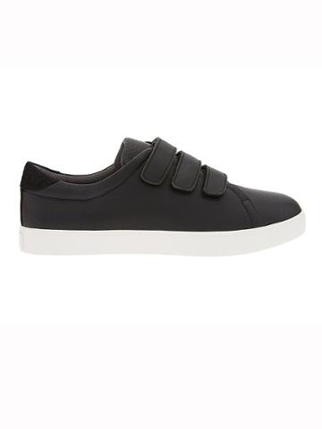 Athleta Womens Sola Triple Strap Sneaker By Dr. Scholls Black Leather Size 6