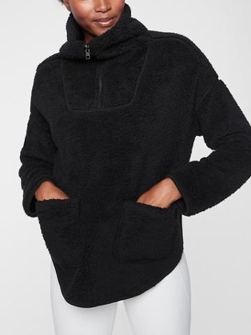 Athleta Womens Nirvana Sherpa Reversible Poncho Black Size Xxs