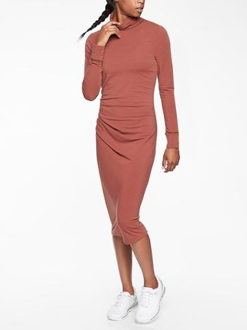Athleta Womens Industry Turtleneck Dress Havana Brown Size Xxs