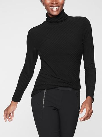 Athleta Womens Essence Ribbed Turtleneck Black Size M