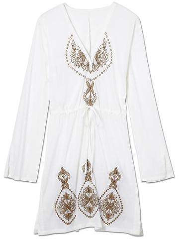 Athleta Womens Cutout Cover Up White Morocco Size M