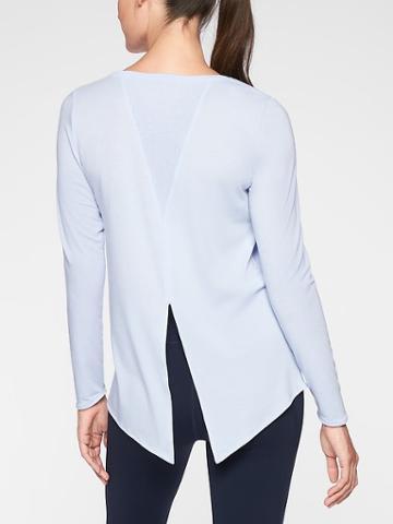 Athleta Womens Essence Semi Fit Long Sleeve Pure Blue Size Xxs